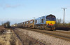 66301 approaches Lowfield Lane Melton at 10:25 on Sunday 7th February 2016 with the 0917 Belmont Down Yard - Beverley ballast hoppers.