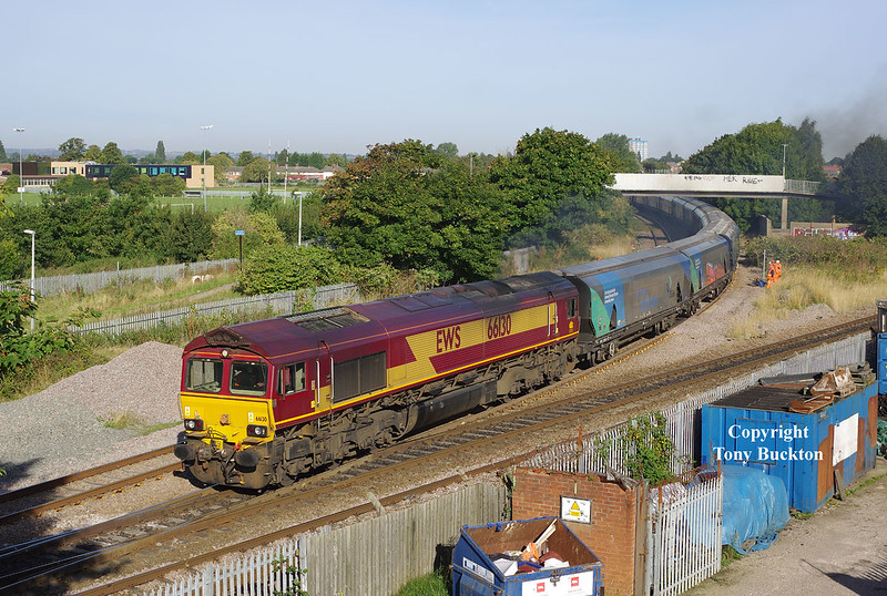 66130 departs the branch from Hull docks at Hessle Rd Junction with the 08:20 Hull Biomass LP - Drax PS on the morning of Friday 23rd September 2016.