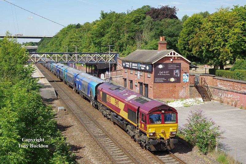 66135 passes Hessle at 10:46 on Wednesday 17th July 2014 with the 09:23 Milford West Sidings  - Hull Biomass LP.