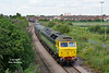 D1916 (47812) approaches Southcoates Lane, Hull, on the morning of Monday the 14th of July 2014 with the 4D94 10:21 Doncaster Down Decoy - Hull CT empty gypsum containers. Not so lucky with the light this time!