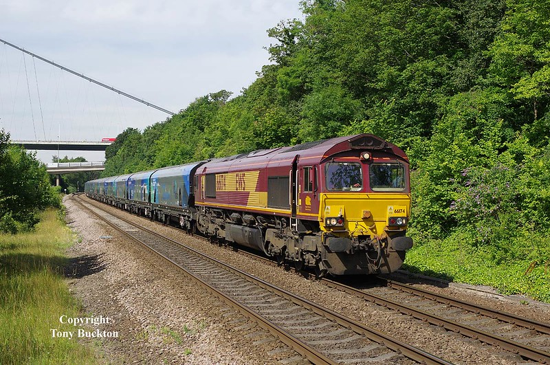 66174 passes Hessle at 10:24 with the 0923 Milford West Sidings - Hull Biomass -  Wed 16th July 2014.