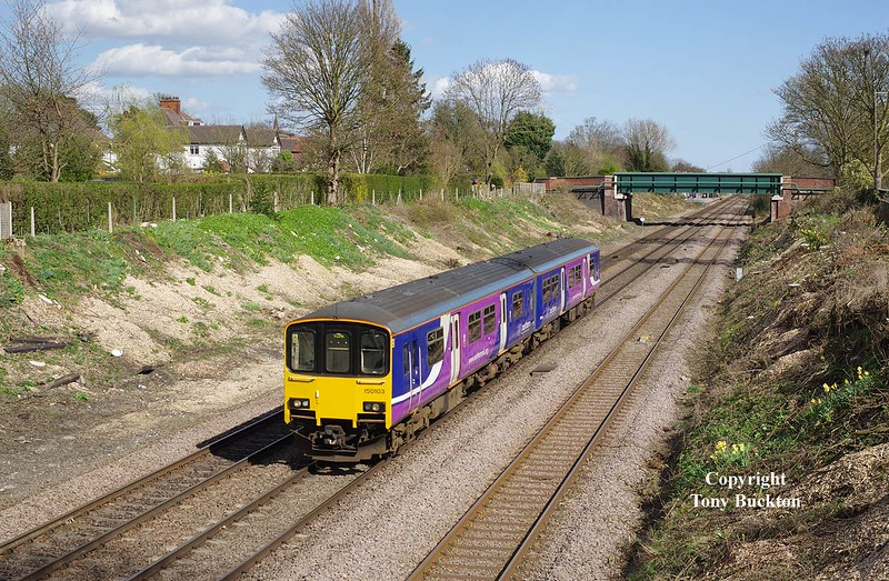150103 passes through Ferriby Cutting on Sat 11th April 2015, forming the 2R08 15:03 Hull - York .