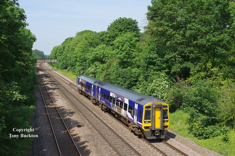 158795 approaches Ferriby at 10:59 on Sunday 1st June 2014 with the 2W08 10:19 Doncaster - Bridlington. <br /> A comparison  with my photo dated 24/03/15 will show the extent of the recent vegetation clearance in the e area.