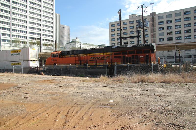 "New Train running on the ""Abandoned Wye""<br /> A751-07 Fairburn intermodal to Atlanta Hulsey intermodal turn.  <br /> BNSF 3976 running long hood forward, NS style."