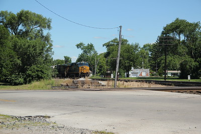A southbound CSX manifest freight on the C&O about to cross the NKP (NS).