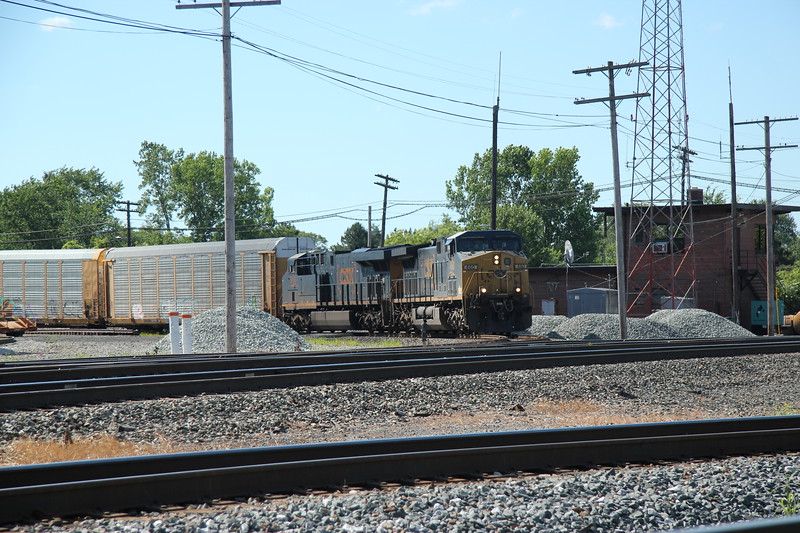 A CSX autorack train turns north at F tower from the B&O to the C&O.