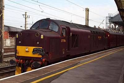 37706 waits at Preston, having arrived with the ECS from Carnforth Steamtown.