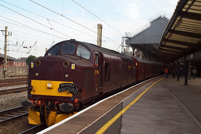 37706 sits at Preston with the positioning railtour for the Cambrian Coast Express, running to London Euston.