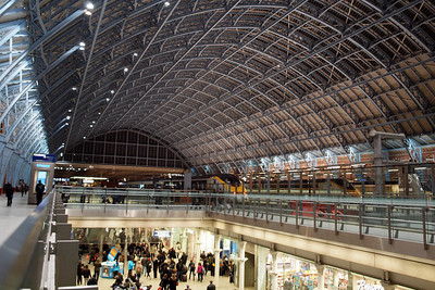 Back at St Pancras as evening has fallen - note the busy undercroft.