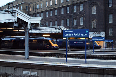 Guess where? First Great Western HSTs, headed by 43088 and 43012, line up at London Paddington with high speed services to the west.