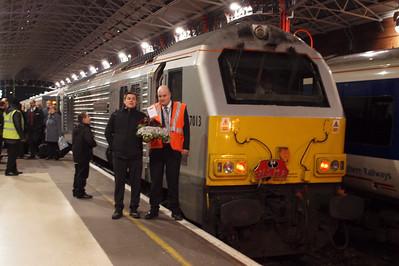 Train crew pose beside 67013 at Marylebone.