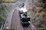 LT 0-6-0PT No. L97 rounds the curve from Watford at Watford South Junction, about to enter the tip at Croxley with the spoil train from Neasden, Monday 31st October 1966. Slide No. 2572.