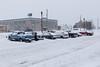 Snowy parking lot.