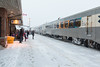 People waiting to board the Polar Bear Express in Cochrane.
