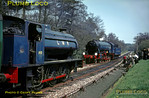 """The second RCTS """"Longmoor Military Railtour"""" ran in gorgeous sunshine on Saturday 30th April 1966. Once again, WD 2-10-0 No. AD600 """"Gordon"""" hauled the train from Woking onto the LMR at Liss, and is now running round the train before double-heading with """"Austerity"""" 0-6-0ST No. AD195 to Longmoor Downs. Slide No. 1974."""