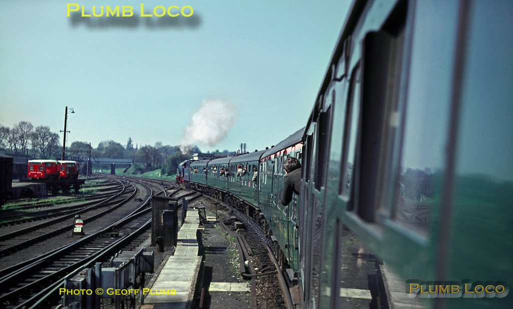 "The RCTS ""Longmoor Military Railtour"" starts away from Woking, now being hauled by WD 2-10-0 No. AD600 ""Gordon"", taking the line to Guildford and Portsmouth as far as Liss before going on to the LMR itself. Saturday 30th April 1966. Slide No. 1970."