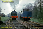 """Watched by tour participants and supervised by Army personnel, 2-10-0 AD600 """"Gordon"""" runs round the train at Liss LMR station, before coupling up to AD195 and then double-heading the train to Longmoor Downs. Saturday 16th April 1966. Slide No. 1943."""