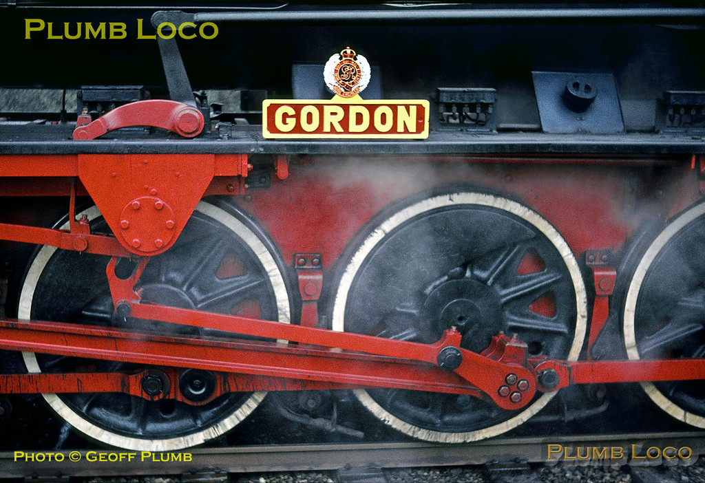 """Nameplate of WD 2-10-0 No. AD600 """"Gordon"""" at Liss LMR station, Saturday 16th April 1966. Slide No. 1945."""
