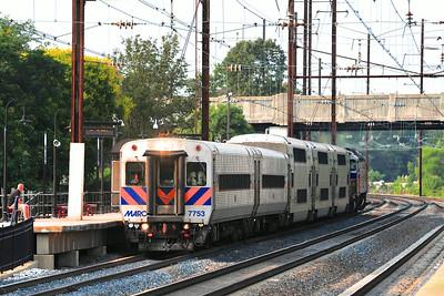 MARC 447 blows through the station at Odenton en route to Washington DC.