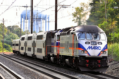 Assisted by a GP-39, MARC 35 shoves train 447 back to DC.