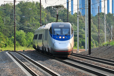 Car 2037 leads the 6:00 Acela north through Odenton