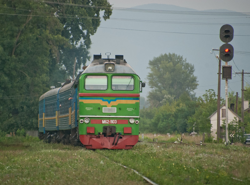 From Berehove we picked up an obscure sleeper train with rare monster M62 power to take us to the junction at Bat'ove where our taxi driver from the morning was fortuitously there to take us back to Mukacheve