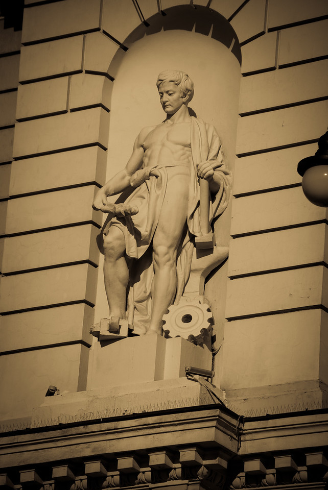 One of the statues on the station frontage.