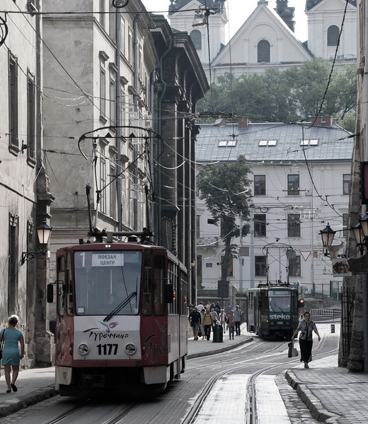 There are some places that rise above mass tourism - in August Lviv isn't one of them. So gave up on the old town in favour of tram bashing to various off centre locations. This is the main tram corridor through the old town