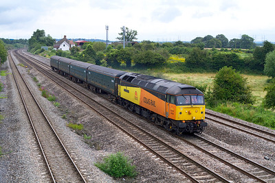 47739 'Robin of Templecombe' passes Church Road, Undy with 5Z39 12.33 Eastleigh to Cardiff Canton stock move consisting of Ex FGW Motorail vans, 96603, 96604, 96607 & 96605. Tuesday 31st July 2012.