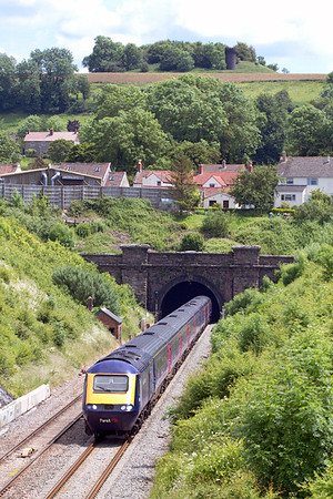 The 11.45 Paddington to Swansea with power cars 43163 & 43165 emerges from Chipping Sodbury Tunnel. Wednesday 20th June 2012.