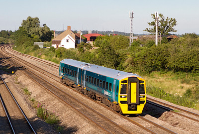 Arriva Trains Wales 158835 passes Undy on the 17.45 Cheltenham Spa to Maesteg service. Tuesday 24th July 2012.