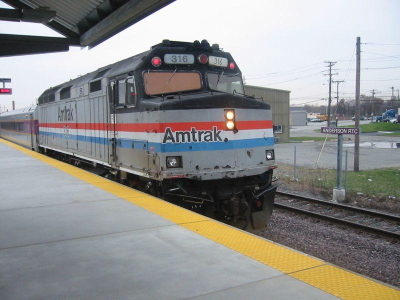 Here borrowed Amtrak power heads inbound at Anderson Regional Trans Center.