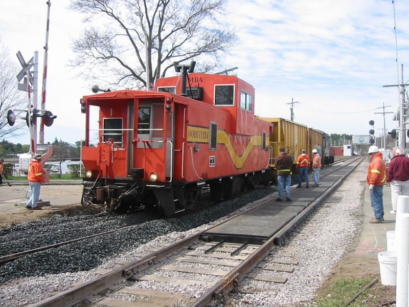 The work train dumping stone in Manchester By The Sea.