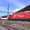 105 stormes through Oberwald with 906 09:52 Zermatt to St. Moritz portion of the Glacier Express, 30/7/2012.