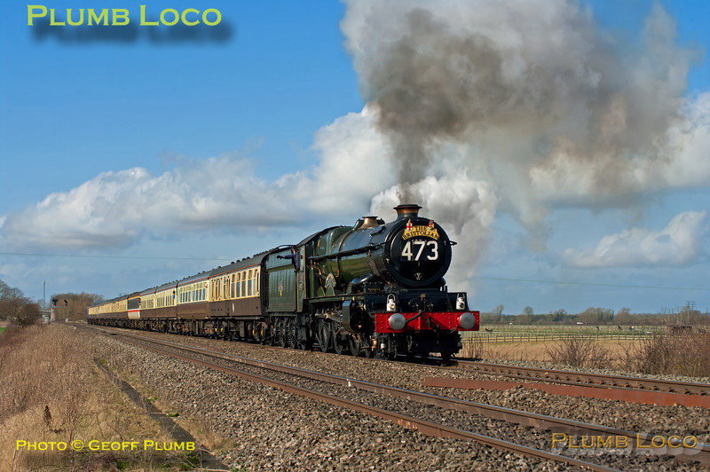 """The light improved dramatically late in the morning of Saturday 3rd March 2012 and GWR """"King"""" 4-6-0 No. 6024 """"King Edward I"""" makes a rousing start away from its water stop at Wantage Road, approaching the foot-crossing. It is working 1Z26, """"The Bristolian"""", complete with reporting number, from Bristol to Paddington and return at 11:07. Digital Image No. GMPI11221."""