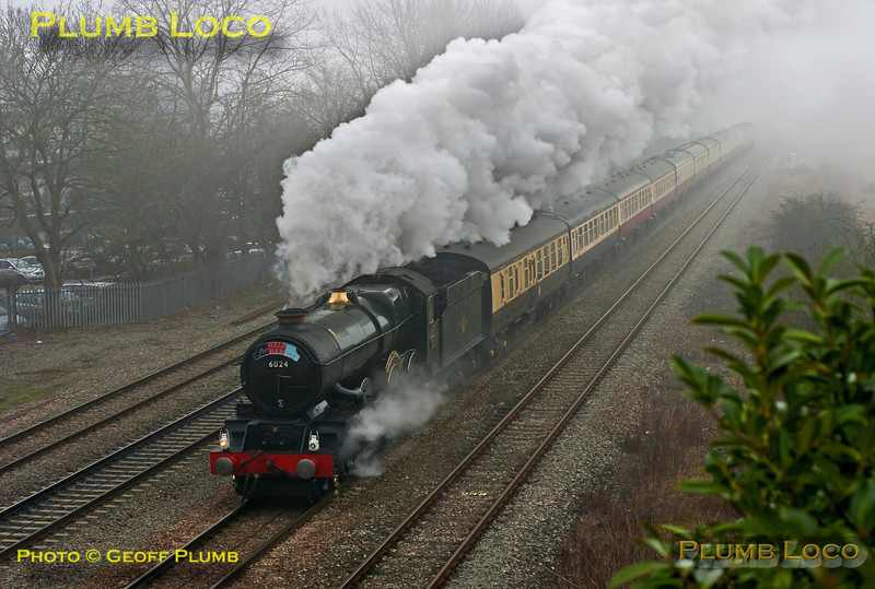 "GWR No. 6024 ""King Edward I"" emerges through the morning mist at Milton as it heads west with 1Z27, ""The Cathedrals Express St. David's Day/Help for Heroes"" special. This was 09:36 from Paddington to Cardiff and return to Euston. 11:09, Thursday 1st March 2012. Digital Image No. GMPI11163."
