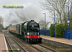 "After the water stop at Newbury station, 60163 ""Tornado"" was held up by a late running westbound HST, so was a few minutes late as it passes Bedwyn station with 1Z29, ""The Cathedrals Express"", 08:06 from Paddington to Plymouth and return. 10:15, Saturday 10th March 2012. Digital Image No. GMPI11245."