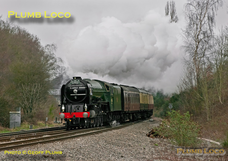 """A1 class 4-6-2 No. 60163 """"Tornado"""" takes the Berks & Hants line at Southcote Junction, working 1Z29 """"The Cathedrals Express"""", 08:06 from Paddington to Plymouth and return. Running almost on time it passes at 09:08 on yet another dull morning, Saturday 10th March 2012. Digital Image No. GMPI11233."""