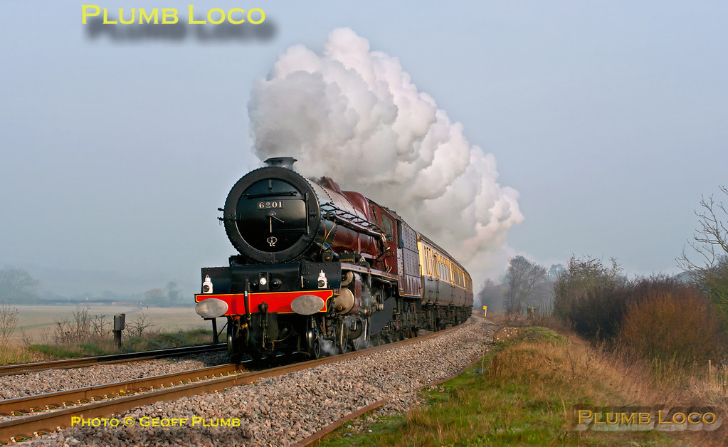 """LMS Stanier """"Princess"""" Class 4-6-2 No. 6201 """"Princess Elizabeth"""" is in full cry as it approaches King's Sutton with 1Z64, """"The Double Lickey Banker"""", 07:05 from Solihull to Bristol via Oxford and Swindon, returning via Worcester and the Lickey Incline. The morning mist had still not fully cleared as the train nears the foot-crossing at 07:49 on Saturday 24th March 2012. Digital Image No. GMPI11347."""