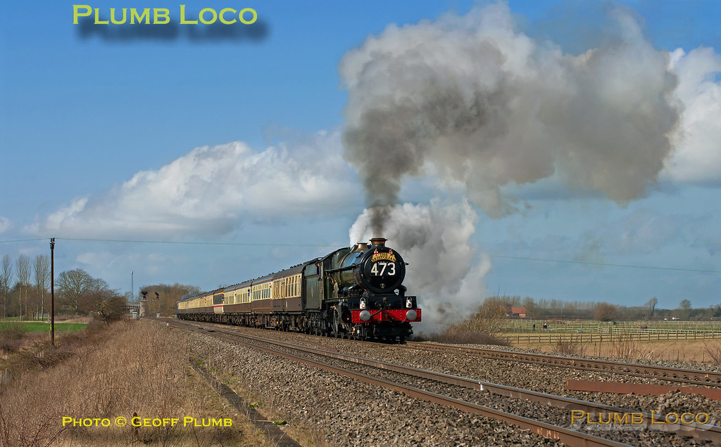 "The light improved dramatically late in the morning of Saturday 3rd March 2012 and GWR ""King"" 4-6-0 No. 6024 ""King Edward I"" makes a rousing start away from its water stop at Wantage Road, approaching the foot-crossing. It is working 1Z26, ""The Bristolian"", complete with reporting number, from Bristol to Paddington and return at 11:07. Digital Image No. GMPI11219."