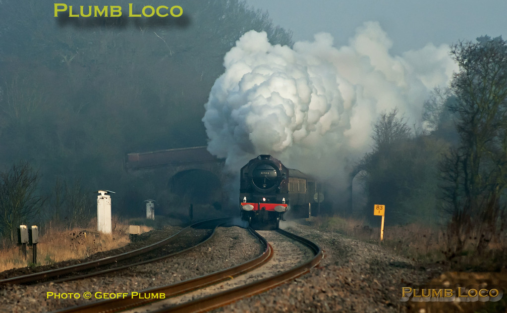 """LMS Stanier """"Princess"""" Class 4-6-2 No. 6201 """"Princess Elizabeth"""" is in full cry as it approaches King's Sutton with 1Z64, """"The Double Lickey Banker"""", 07:05 from Solihull to Bristol via Oxford and Swindon, returning via Worcester and the Lickey Incline. The morning mist had still not fully cleared as the train nears the foot-crossing at 07:49 on Saturday 24th March 2012. Digital Image No. GMPI11338."""