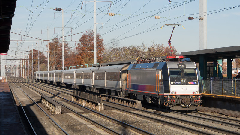 The engineer of this New Jersey Transit push-pull commuter train has just opened the throttle and 750 feet to his rear, the ALP-46 locomotive responds, easing into the New York bound train and slowly pushing it into motion. The next stop likely will be the Newark Liberty Airport rail station.<br /> <br /> November 2015.