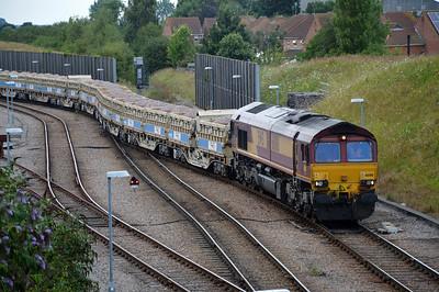 66016 1835/6G02 Whitemoor-Werrington leaving the yard at Whitemoor.
