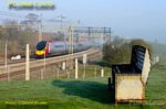 The sun has now all but burnt through the early morning mist but there is still some frost on the ground as an unidentified VWC Pendolino heads south past the field at Old Linslade, 07:42, Thursday 24th March 2011. Digital Image No. GMPI8295.