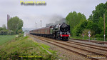 "BR ""Britannia"" 4-6-2 No. 70013 ""Oliver Cromwell"" is at the head of 1Z21, ""The Yorkshireman"", 06:10 from Watford Junction to York and return. It is drifting through the former brickworks at Stewartby, by Forders Sidings, between Bletchley and Bedford at 07:18 under rather leaden skies. Saturday 7th May 2011. Digital Image No. GMPI8857."