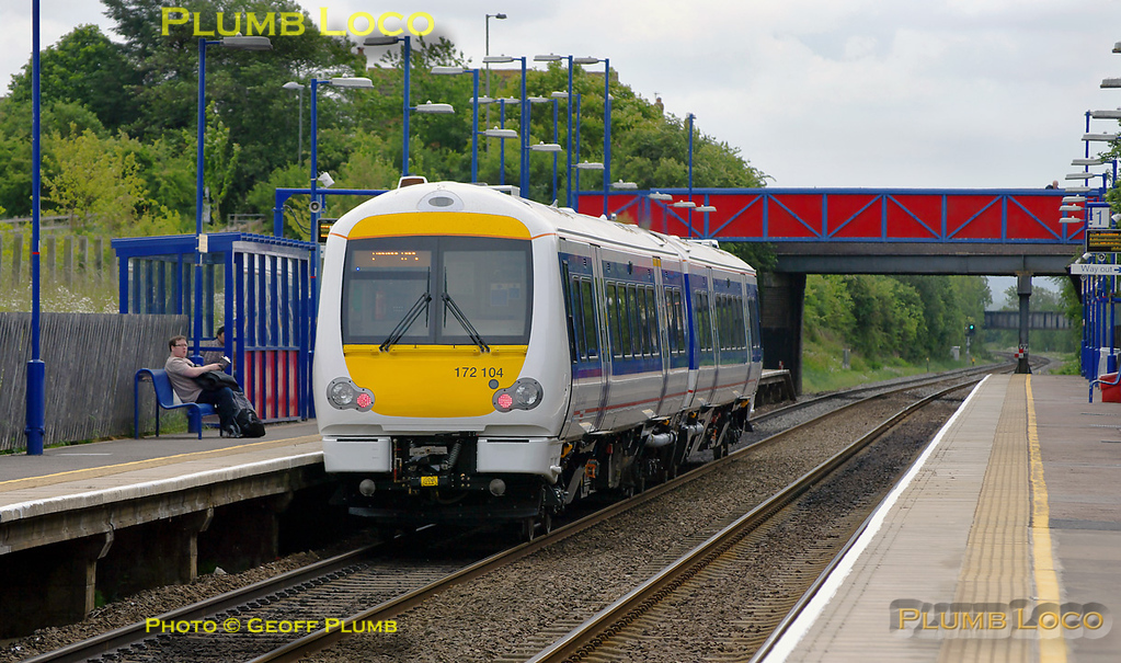 Brand new two car 172104 is one of the sets for Chiltern Railways and carries that livery as it works a test train through Haddenham & Thame Parkway station. This was 5Z72, 08:30 from Derby Litchurch Lane to Marylebone, returning as 5Z74 at 13:03 from Marylebone to Derby. It was running at getting on for full line speed (100mph) at 11:16 on Monday 16th May 2011. Digital Image No. GMPI9069.
