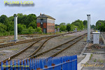 This is going to be huge! Stanchions for the new signal gantry to the north end of Princes Risborough station appeared over the weekend of 21st & 22nd May 2011. This is to replace the old signals which are in the way of the new up through line and it will span all three tracks when finished. This may not happen until the crossover in the picture is removed and the through line laid, all of which is likely to require the use of cranes. Once finished, it will certainly transform this view... 06:49, Monday 23rd May 2011. Digital Image No. GMPI9180.
