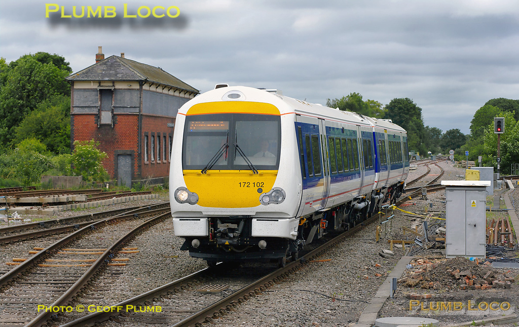 One of Chiltern's new 172 two car units, 172 102, is approaching Princes Risborough station running as 5Z72, 08:30 from Derby Litchurch Lane to Marylebone, before working back as 5Z74. It is running around twenty minutes late at 11:43 on Wednesday 18th May 2011. Digital Image No. GMPI9083.