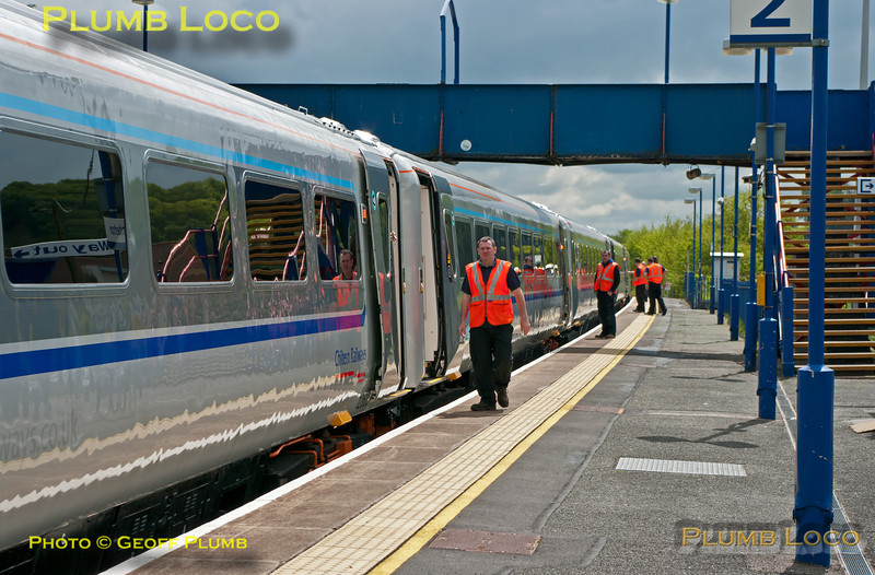 Once again the onboard staff try out the new power doors as the train stops at Saunderton station (not often that loco-hauled trains stop here!) during the run of 5R00, 10:59 test train from Wembley LMD to Birmingham Moor Street, 11:57, Tuesday 15th May 2012. Digital Image No. GMPI11746.