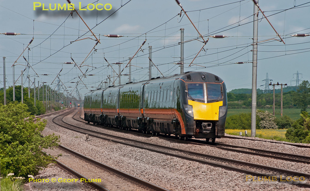 """Grand Central's """"Adelante"""" 180 107 heads south on the up main line approaching Sandy with 1A63, the10:22 from Bradford Interchange to King's Cross, running a few minutes early at 13:09 on Wednesday 30th May 2012. Digital Image No. GMPI12141."""